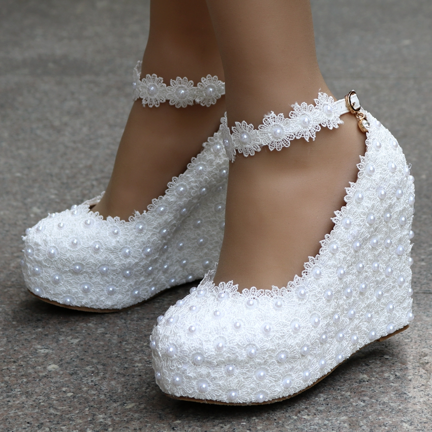 2019 New White Wedges Wedding Pumps Sweet White Flower Lace Pearl Platform Pump Shoes Bride Dress High Heels