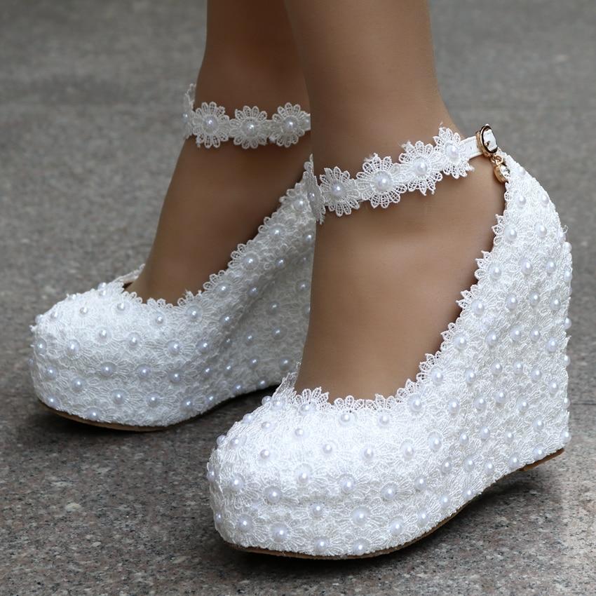 2019 New White Wedges Wedding Pumps Sweet White Flower Lace Pearl Platform Pump Shoes Bride Dress High Heels