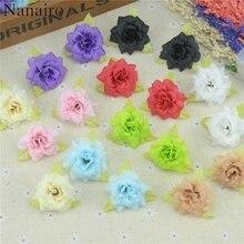 15 adet 4cm el yapımı Mini yapay ipek gül çiçek kafaları yapraklar DIY Scrapbooking çiçek öpücük topu düğün için dekoratif