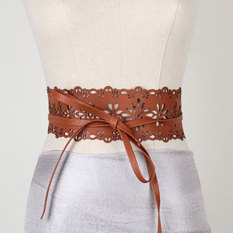 2020 New Novelty Vintage Women's Lace Wide Belt Stretchy Corset Female Black Cincher Waistband Belts For Lady Dress Accessories