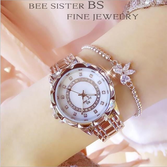 New Rhinestone Ladies Watch Fashion Woman Watches Stainless Steel Band Bracelet Womens Watches Crystal Watch Clock Women reloj
