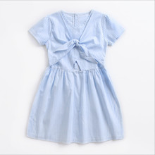 Платье в полоску для девочек детская одежда детское платье на бретелях открытый пупок платье принцессы для девочек новое Хлопковое платье