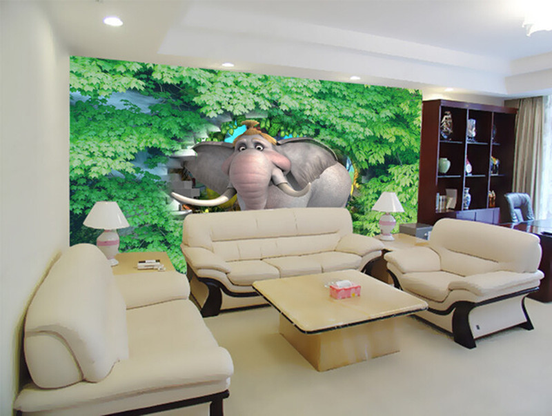 Custom 3D murals, 3d cartoon elephant brick wall green leaf papel de parede ,living room sofa TV wall children bedroom wallpaper custom 3d murals cartoon wolf papel de parede hotel restaurant coffee shop living room sofa tv wall children bedroom wallpaper