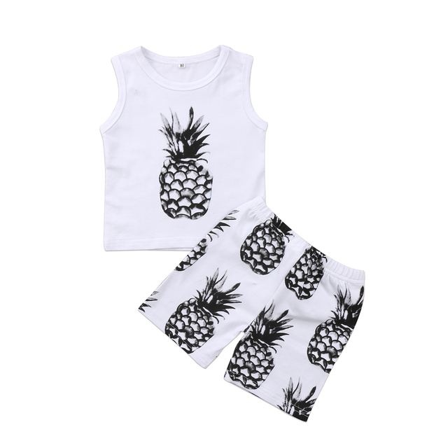 cf1d9c0bb2 Newborn Kids Baby Boys Clothes pineapple Vest Tank Tops T Shirts + Short Pants  Outfits Set