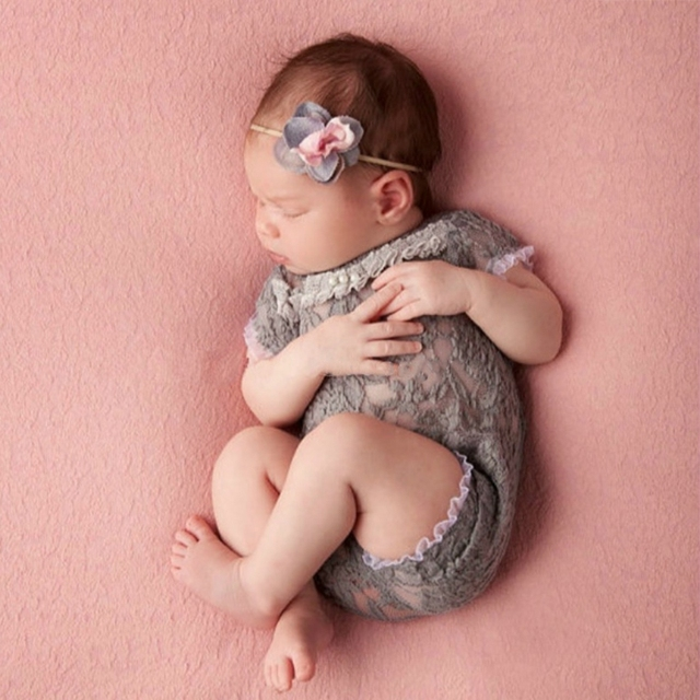 Newborn Baby Girls Tulle Embroidery Lace Rompers Photography Props Jumpsuits New
