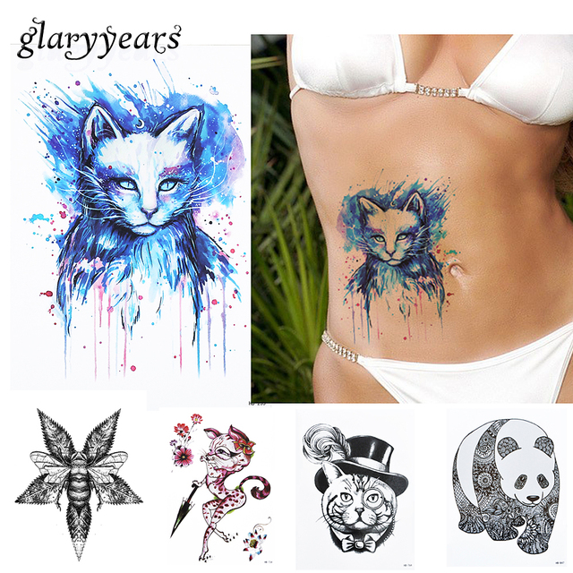 350a5dc15 1pc Beauty Blue Colored Drawing Cat Picture Design Tatoo HB235 Waterproof Temporary  Tattoo for Women Body