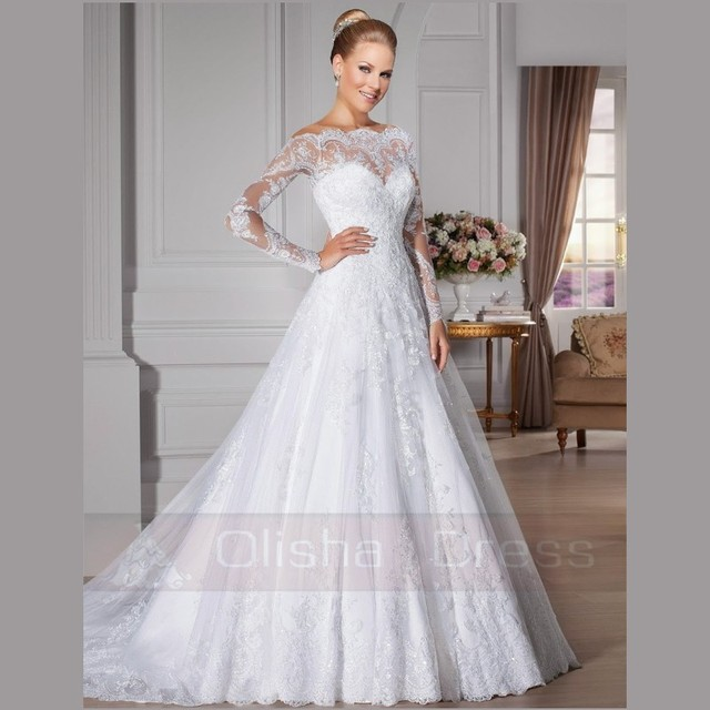 e6a7150b016db US $235.0 |New Arrival A Line Bride Dresses Lace Appliques Sweetheart  Wedding Dress Long Sleeve Boat Neck Court Train 7 8 Days Custom Made-in  Wedding ...