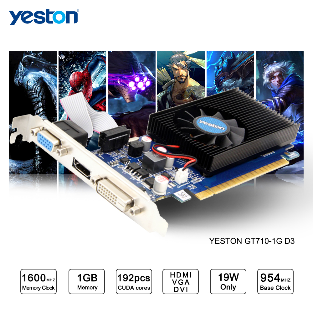 Yeston GeForce GT 710 GPU 1GB GDDR3 64 bit Gaming Desktop computer PC Video Graphics Cards support vg 86m06 006 gpu for acer aspire 6530g notebook pc graphics card ati hd3650 video card
