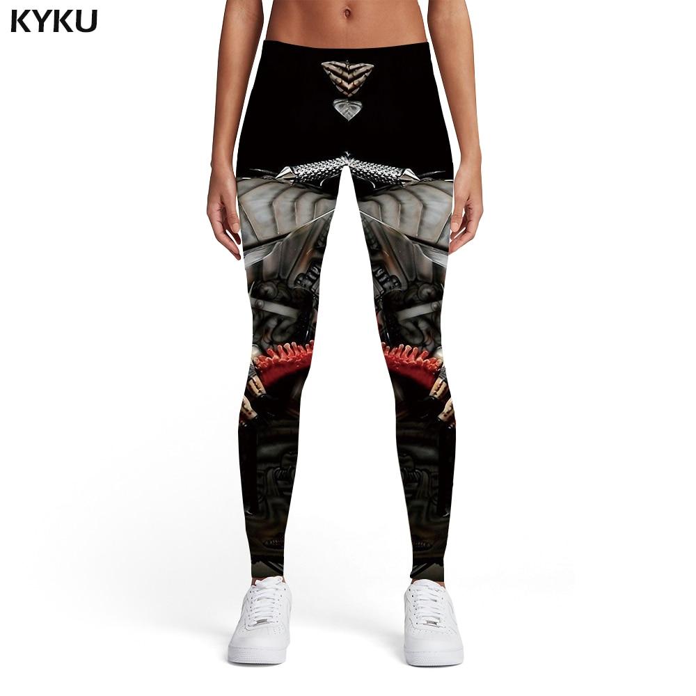 KYKU Skull Leggings Women Skeleton Ladies Metal Elastic Motorcycle 3d Print Black Spandex Womens Leggings Pants Casual Fashion