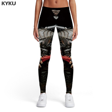 KYKU Skull Leggings Women Skeleton Ladies Metal Elastic Motorcycle 3d Print Black Spandex Womens Pants Casual Fashion