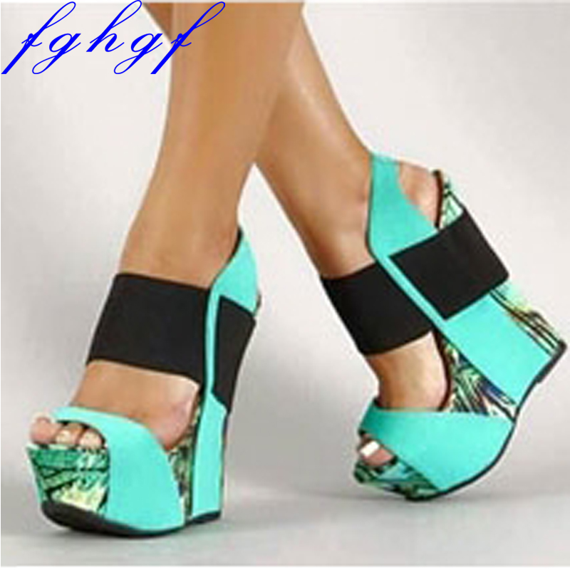 Fghgf 2018 Red Blue Gorgeous Women Sandals Platform Open Toe Wedges Sandals Nice Multi Colors Shoes