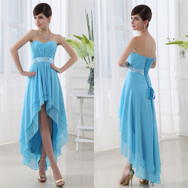 Robe De Cocktail 2017 Sexy Sweetheart Sleeveless High Low Blue Cocktail Dresses Pleated Chiffon Formal Party Dress Cheap SD013