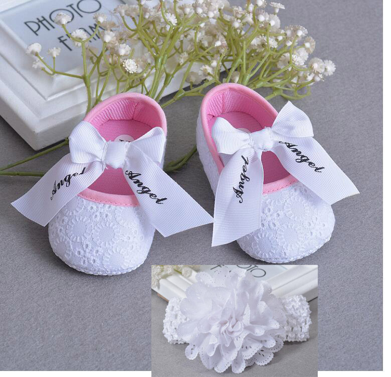 84456c9966e75 Soft Sole Flower Newborn Baby Girl Christening Shoes Baptism Lovely Letter  Ribbon bow Lace non-