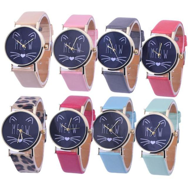 Cat Pattern Leather Band Analog Quartz Watch