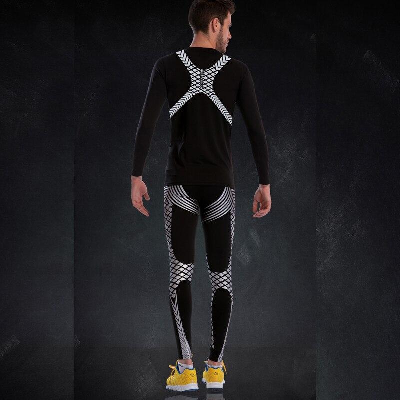 Strakke Gym Pak Mannen Lange Mouwen Compressie Fitness Set 2019 New Classic Patroon Cool Sportkleding Polyester Run Sport Panty Sets - 5
