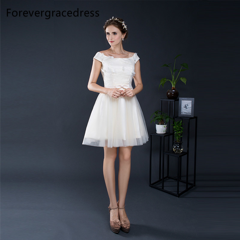 Forevergracedress Elegant Cheap   Bridesmaid     Dress   New Arrival Tulle Short Wedding Party Gown Plus Size Custom Made