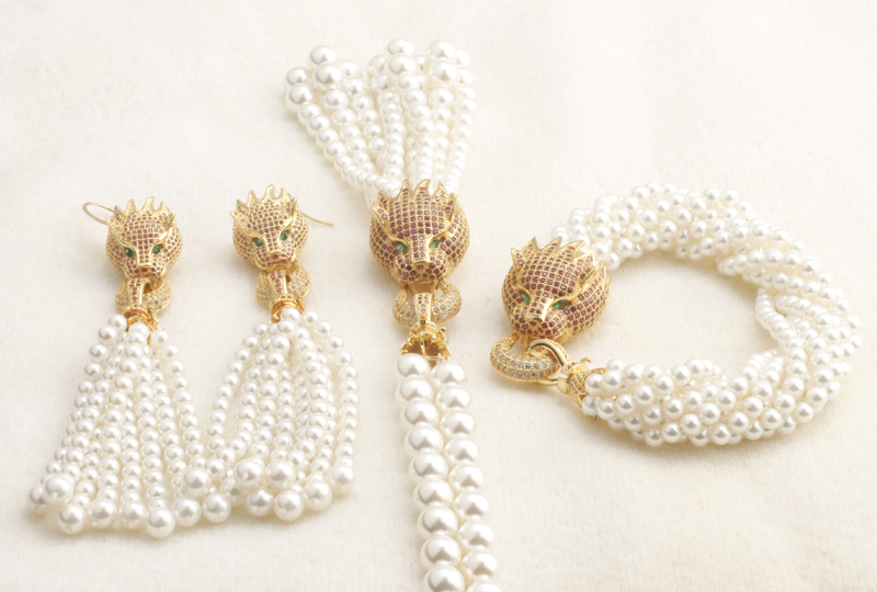 GrayBirds Luxury Jewelry Set For Woman Animal Panther Leopard Necklace Bracelet Earring Shell Pearl Zircon Hot Pink Color rose gold color shell round simulated pearl element rhinestones micro setting luxury lady jewelry set necklace earring wholesale