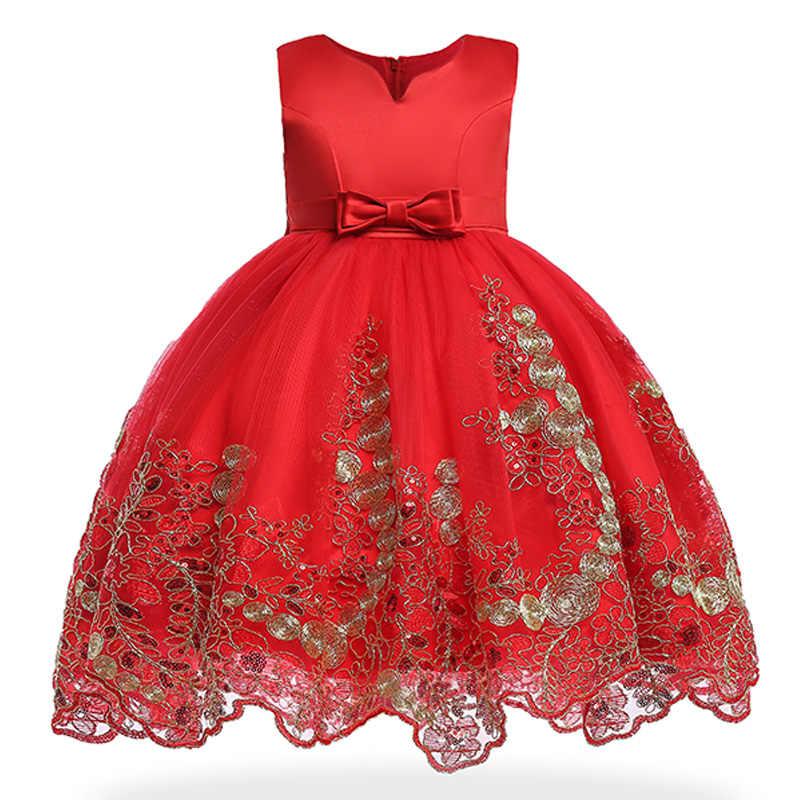 a1dbb42a90d Платье для девочек летние вышитый цветок большой бант для девочек Свадебные  Show вечерние платье принцессы платье