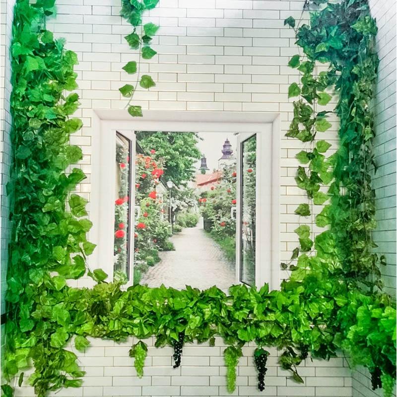 12Pcs/Lot 2.3M Long Artificial Plants Green Ivy Leaves Artificial Grape Vine Fake Parthenocissus Wedding Bar Decoration Leaves