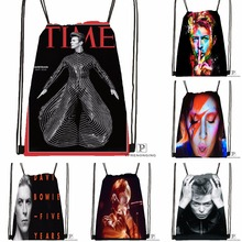 Custom David Bowie Drawstring Backpack Bag Cute Daypack Kids Satchel (Black Back) 31x40cm#180531-04-62