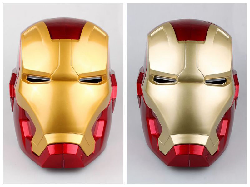 Фото Free Shipping High Quality Iron Man Helmet Ring Sensor Switch Tony Stark Cosplay Mask with LED Light Collection Model For Child