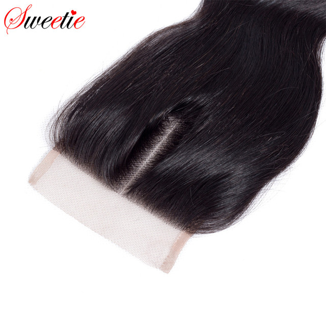 Sweetie Hair 4×4 Brazilian Remy Hair Body Wave Lace Closure 100% Human Hair Natural Black Middle Part Free Shipping