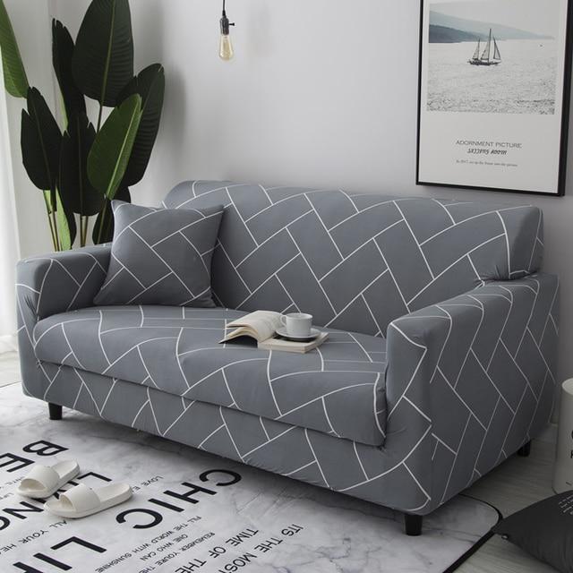 رمادي خط أريكة غطاء أريكة التفاف ضيق شامل زلة مقاومة أريكة يغطي ل غرفة المعيشة المنزلي أريكة يغطي Slip