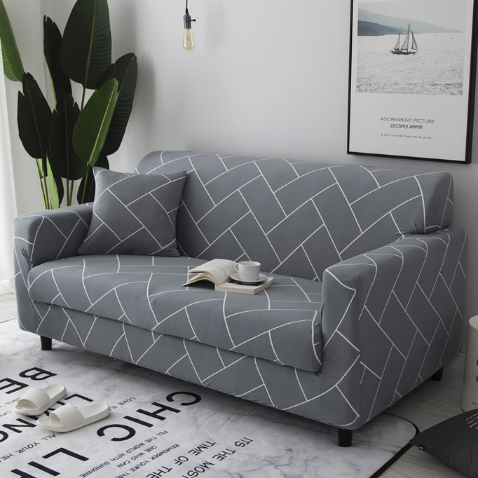 Grey Line Sofa Couch Cover Wrap