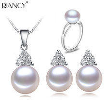 Freshwater Pearl Jewelry Sets 925 Silver Women,natural pearl jewelry sterling silver girlfriend birthday best gift