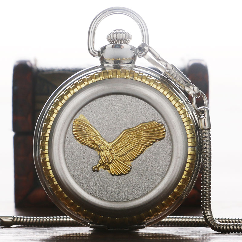 Luxury Quartz Pocket Watch Men Women Silver Gold Fly Eagle Retro Pocket Watch with Pocket Chain Exquisite Clock Gifts reloj retro silver men open face automatic self wind mechanical pocket watch women fob clock casual gifts with pocket chain xams