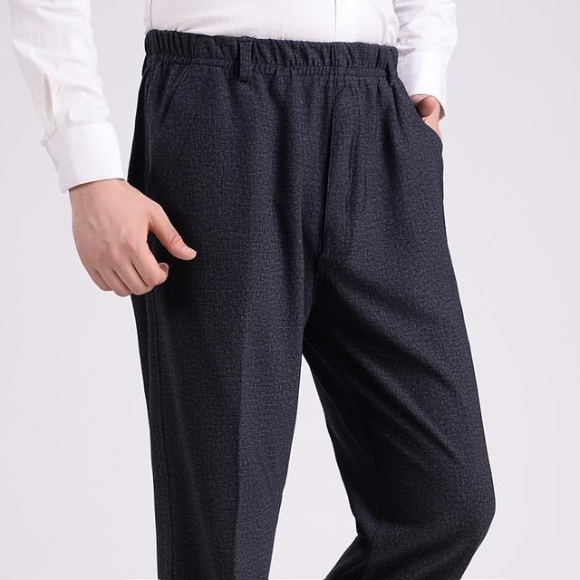 89161370c2 Autunno Uomini di spessore Pantaloni Padre Vita Elastica Pantaloni Casual  Pantaloni anziani A Vita Alta Più