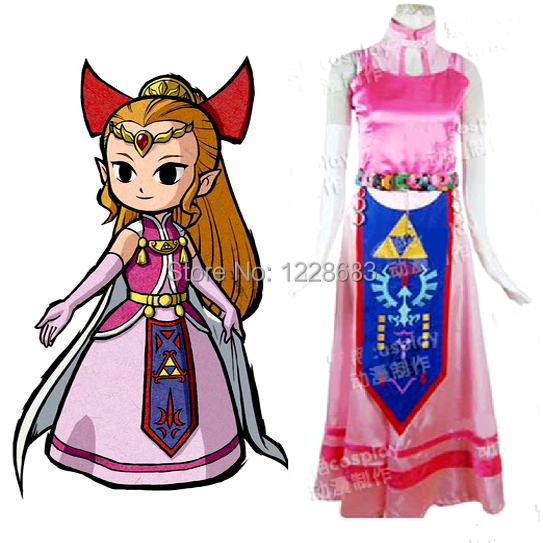 Free Shipping New Custom Made Women The Legend of Zelda Cosplay Princess Zelda Costume