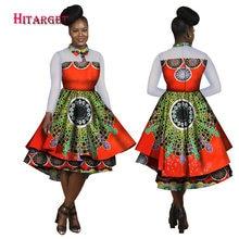 Hitarget 2017 Syksy Bazin Afrikkalainen mekot naisille Dashiki Afrikkalainen vaha Tulosta pitkähihainen mekko Perinteiset vaatteet WY1787