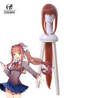 ROLECOS Doki Doki Literature Club Cosplay Hair Monika Cosplay Headwear Game Cos Long Red Pony Synthetic Hair Accessories