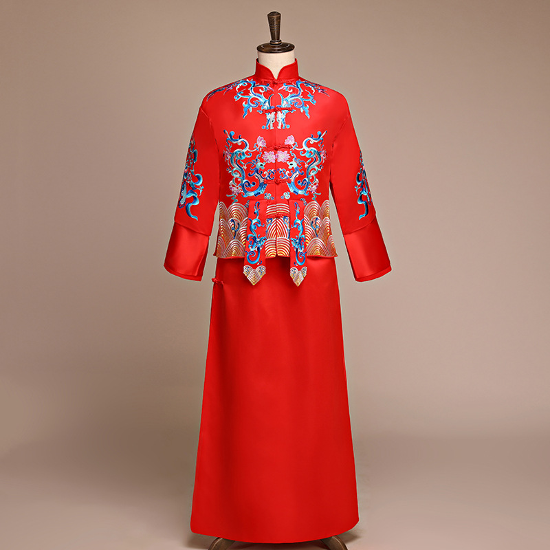 Nouveauté costume de style chinois cheongsam masculin la robe de marié veste longue robe traditionnelle chinoise robe de mariée hommes