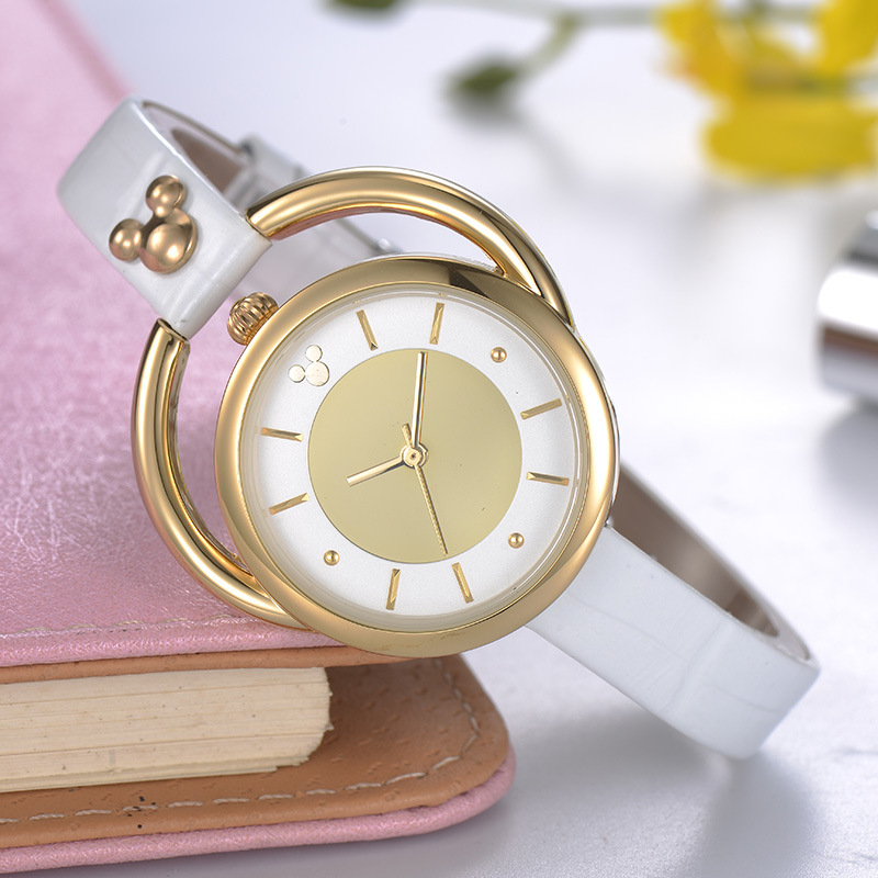 Disney brand Genuine leather woman ladies watches Mickey mouse head quartz women clcoks rose gold silver 30m waterproof