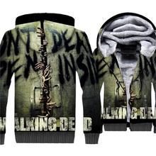 The Walking Dead 3D Print Hoodie Men Rick Hooded Sweatshirt Winter Thick Fleece Warm Zip up Coat Cool Jacket Mens Brand Clothing
