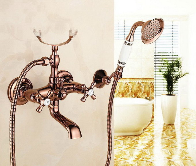 Rose Golden Copper Wall Mounted Swivel Spout Double Handles Bathroom Clawfoot Tub Sink Faucet Mixer Tap W handshower atf170Rose Golden Copper Wall Mounted Swivel Spout Double Handles Bathroom Clawfoot Tub Sink Faucet Mixer Tap W handshower atf170