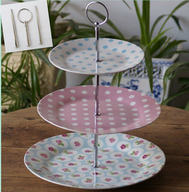 cheap shipping 3 tiers round style cake stand rods ceramic fruit tray handles sliver color. Black Bedroom Furniture Sets. Home Design Ideas