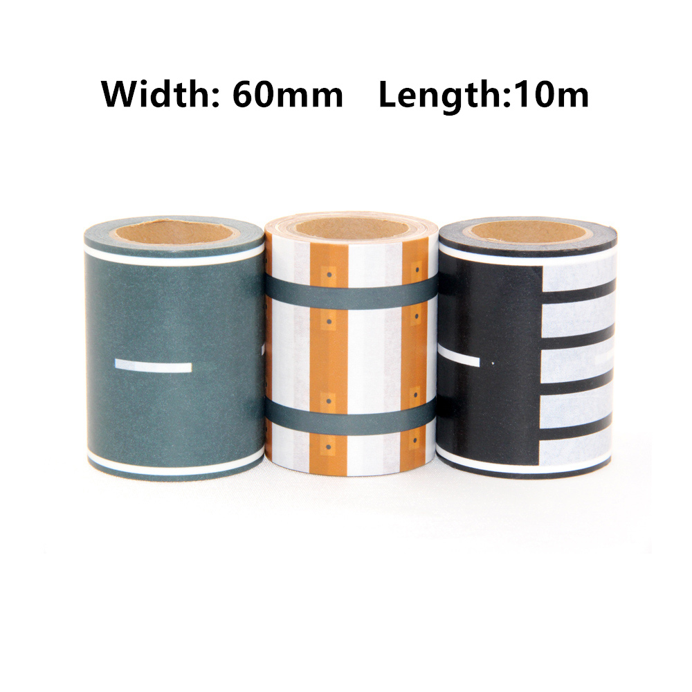 New Decorative Scotch Tape Adhesive Railway Road Washi Tapes,Wide Traffic Sticky Paper Tape for kids toy car play