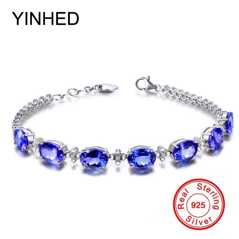 YINHED Luxury Bridal Engagement Jewelry 925 Sterling Silver Charm Bracelet Blue Crystal Zircon Wedding Bracelet for Women ZH093