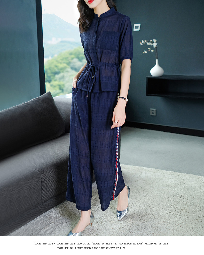 2019 Summer Two Piece Sets Outfits Women Blue Pink Short Sleeve Tunics Tops And Wide Leg Pants Suits Office Elegant 2 Piece Sets 55