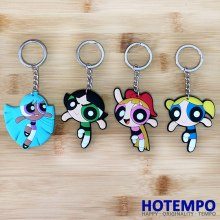 HOTEMPO Powerpuff Girls Soft PVC Action Figure Blossom Bubbles Buttercup Luggage Pendant Toys Sleutelhangers Tag