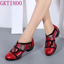 GKTINOO 2020 etnik tarzı el yapımı kadın ayakkabı pompaları hakiki deri kare topuklu yuvarlak ayak düşük topuklu