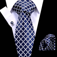 Factory Man 100% Silk Ties Handkerchief Set Jacquard Woven Blue Plaid Wedding Party Pocket Square Tie Necktie Hanky