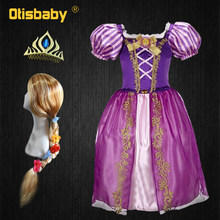 Kerst Kids Sofia Rapunzel Jurk Paars Meisje Tangled Rapunzel Sophia Dress Up Vermomming Kind Cosplay Kostuum Rapunzel Pruik(China)