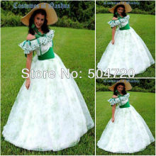 19 Century White Civil War Southern Belle Gown Victorian Lolita Dresses/Scarlett Dress US6-26 V-272