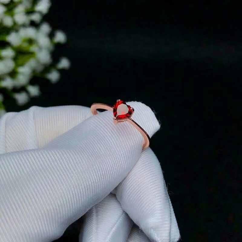 "SHILOVEM 925 כסף טבעי אדום גרנט טבעות פתוחות טרנדי המפלגה סיטונאי בסדר נשים יום הולדת מתנה חדש 5*5 מ""מ צמח bj050501ags"