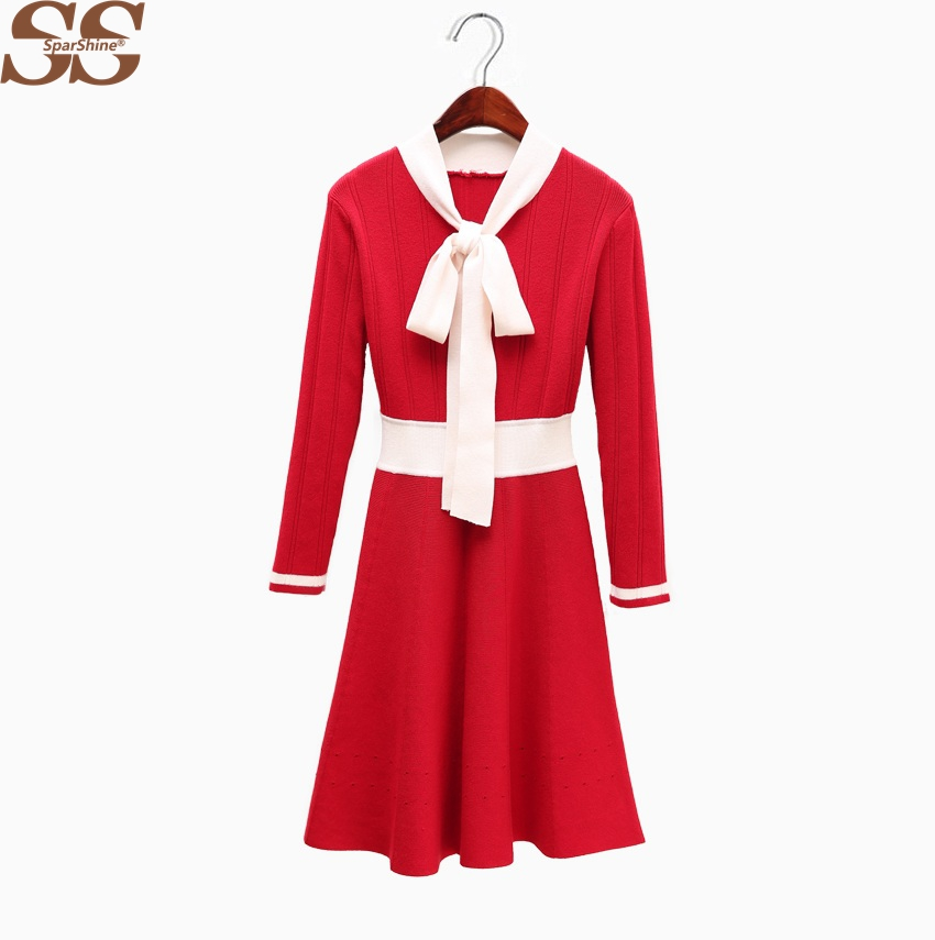 Women Knitted Dress Sweater Casual Female Vestido De Festa Robe Femme Bow Dresses Gothic Party Dress Sexy Mini Vestidos Clothing вечернее платье mermaid dress vestido noiva 2015 w006 elie saab evening dress