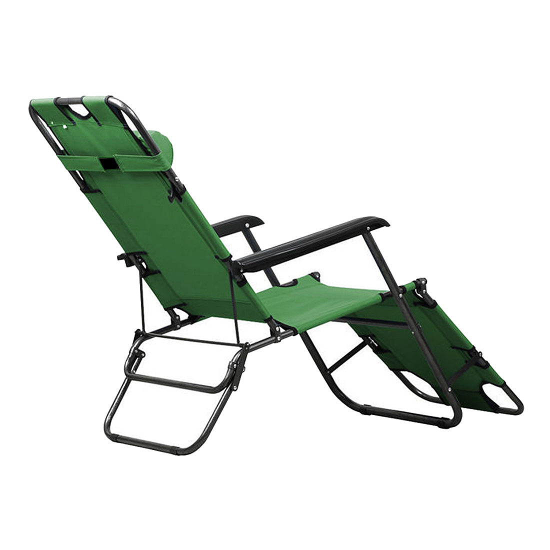 Metal Folding Chaise Lounge Chair Patio Outdoor Pool Beach Lawn Recliner  New Color:Army Green